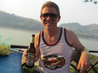 Drinking a Beerlao in Luang Prabang, Laos