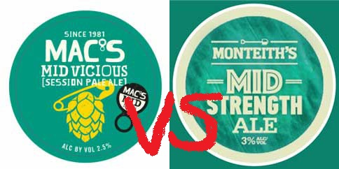 Mac's Mid Vicious vs Monteith's Mid Ale